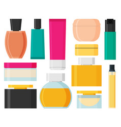 set of cosmetic bottles in flat style vector image vector image