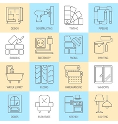 set of modern flat line icons for house vector image