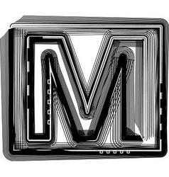 Striped font letter m vector