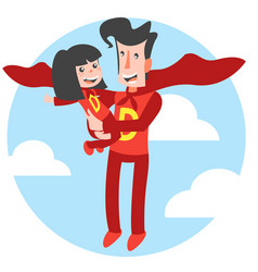 super dad and super daughter vector image vector image