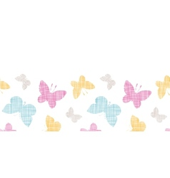 Textile textured colorful butterflies horizontal vector image vector image