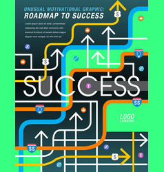 the road to success is mapped out vector image