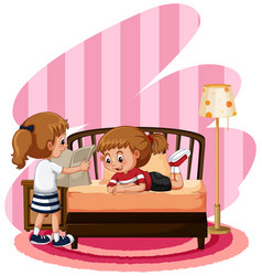 two cute girls in bedroom vector image vector image