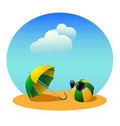 umbrella and ball vector image vector image