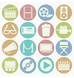 white icons movie vector image vector image
