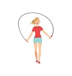 Woman exercising with skipping rope vector