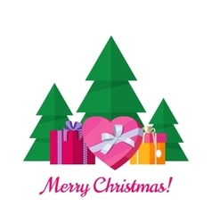 Merry Christmas Concept in Flat Design vector image