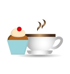 Cartoon cupcake sweet with cup coffee hot icon vector