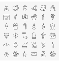 Line Christmas Icons Set vector image