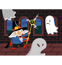 Wizard and ghosts vector image
