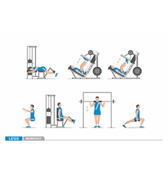 Set of workout for legs vector