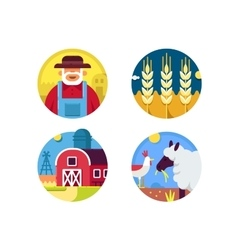 Farming set icons vector image