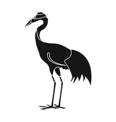 Red-crowned crane icon in black style isolated on vector