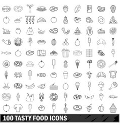 100 tasty food icons set outline style vector