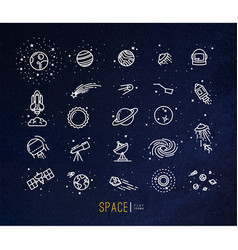 Space flat icons blue vector