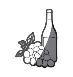 Grayscale silhouette with bottle of wine and bunch vector
