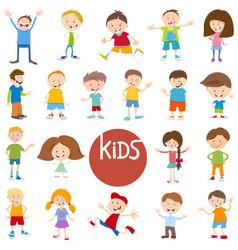 Cartoon kid characters big set vector