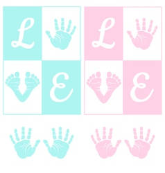 Baby hand print and footprint vector