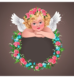 Retro angel flowers vector