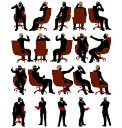 Business men silhouette set vector