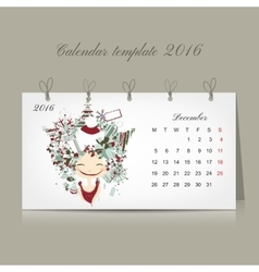 Calendar 2016 december month season girls design vector