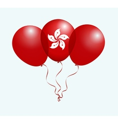 Balloons in white red as hong kong national flag vector
