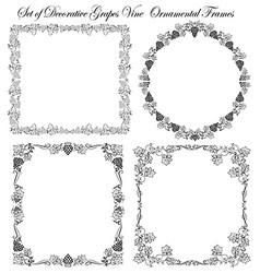 Set of frames grapes vine vector
