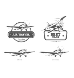 Aviation badges logos emblems labels vector