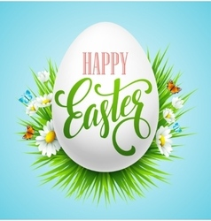 Easter greeting lettering eggs and flowers vector