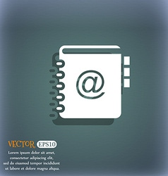 Notebook address phone book icon on the blue-green vector