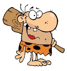 Happy Caveman with Club vector image