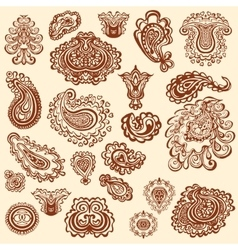 Henna tattoo doodle elements on white vector image