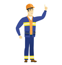 Asian builder pointing with his forefinger vector