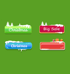 Big sale christmas glossy web push buttons in snow vector