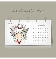 Calendar 2016 december month season girls design vector