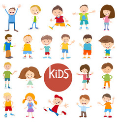 Cartoon kid characters big set vector