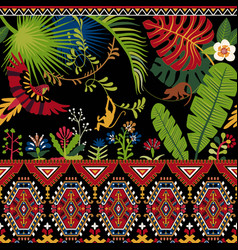 Colorful decorative pattern with plants flowers vector