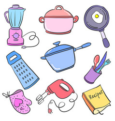 Doodle of kitchen set object collection vector