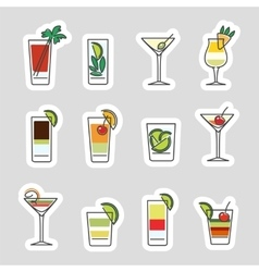 Drinks stickers set vector image vector image