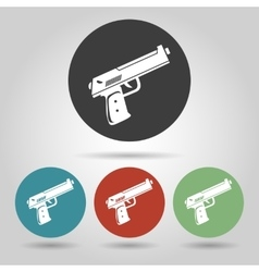 Flat gun icons set vector image