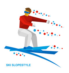 Freestyle skier jumps vector
