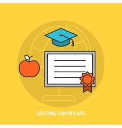 Getting certificate concept vector image vector image