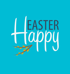 Happy easter banner text with willow vector