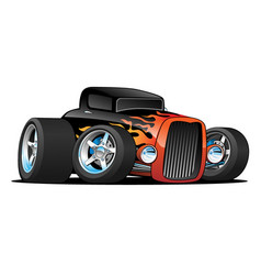Hot rod classic coupe custom car cartoon vector