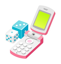 icon mobile phone and dice vector image vector image