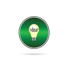Idea in buld icon on green circle vector