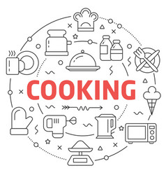 Line flat circle cooking vector