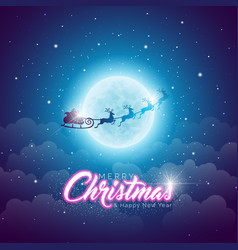 merry christmas with flying santa in vector image