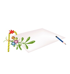 Mistletoe and Candy Cane on Blank Page vector image vector image