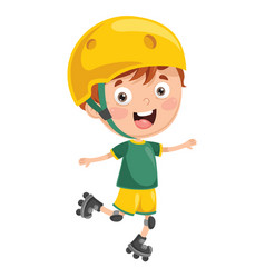 of kid roller skating vector image vector image